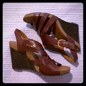 Franco Sarto strappy leather wedge sandals